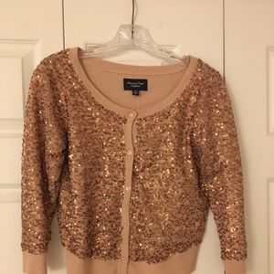 AMERICAN EAGLE SEQUINS SWEATER BEAUTIFUL ROSE